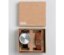 Uhr mit austauschbaren Armbändern in Hellbraun und Schwarz Mehrfarbig