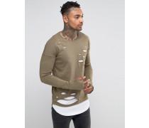 Langes, langärmliges Lagen-Shirt in Distressed Grün