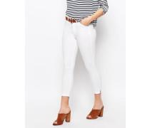 Kurze Jeans mit hoher Taille Weiß