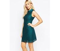 Hochgeschnittenes Kleid mit Netzstreifen Blau