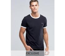Ringer Regulär geschnittenes T-Shirt in exklusivem Schwarz Schwarz