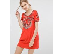 Verziertes Boho-Kleid Rot