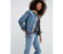 Jeansjacke in mittlerer Vintage-Waschung mit Kunstpelzfutter Blau
