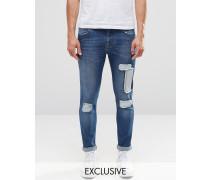 Brooklyn Supply Co Dumbo Jeans mit Patchwork-Knien Blau
