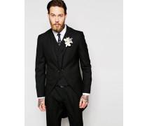 Wedding Enge Smokingjacke mit Schwalbenschwanz in Schwarz Schwarz