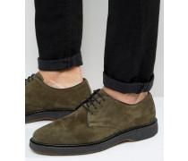 Derby-Schuhe aus Wildleder in Khaki Grün