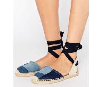 Klassische flache Patchwork-Schuhe mit Jeansstoff mit Knöchelriemen Marineblau