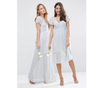 WEDDING Maxikleid aus Spitze mit Wickelschnürung Grau