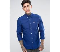 Blaues Oxford-Hemd mit langen Ärmeln Blau