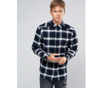 Lumber Kariertes Flanellhemd Marineblau