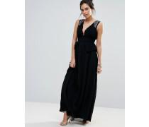 Maxi-Schößchenkleid mit tiefem Ausschnitt und verzierten Schultern Schwarz