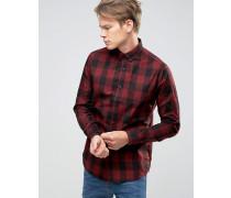 Karohemd mit Button-Down-Kragen Rot