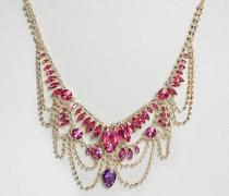 Statement-Halskette mit Schmucksteinen Gold