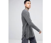 Texturierter Oversize Pullover mit Knopfschlaufen am Saum Grau