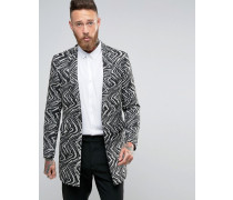 Lang geschnittener Blazer mit enger Passform, in Schwarz und Weiß Schwarz
