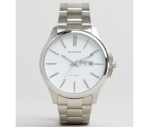 Armbanduhr aus Edelstahl mit Datumsfenster Silber