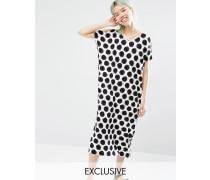 Exklusives mittellanges T-Shirt-Kleid mit Pünktchen Mehrfarbig