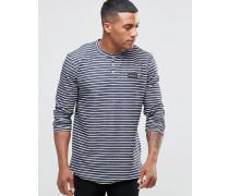 Langärmliges, gestreiftes T-Shirt Marineblau