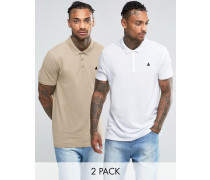 Pikee-Polohemden mit Logo im 2er-Pack, weiß/beige, 13% SPAREN Mehrfarbig