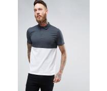 Polohemd mit Half & Half-Body in Grau und Weiß Mehrfarbig