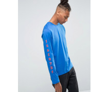 Langärmliges Shirt mit Print am Arm Blau