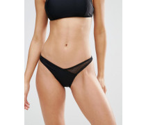 Bikinihose mit hohem Beinausschnitt im Stil der 80er Jahre Schwarz