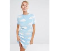 Gestricktes Minikleid mit flauschigem Wolkendesign Blau