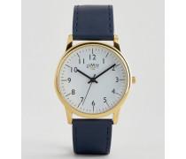 Armbanduhr in Marineblau mit goldenem Zifferblatt, exklusiv bei ASOS Marineblau