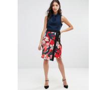 Closet Geblümtes Kleid mit gewickeltem Rock und Kontrastdesign an der Taille Mehrfarbig