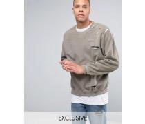 Überfärbtes Oversize-Sweatshirt im Distressed-Look Grau
