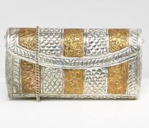 Metalltasche mit Einätzungen und abnehmbaren Trägern Silber