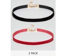 Kurze Samthalsbänder im 2er-Set Mehrfarbig