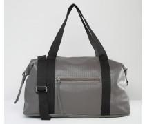Strukturierte Reisetasche mit Kontrastriemen Grau