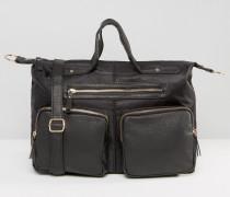 Lässige Tasche mit mehreren Fächern Schwarz