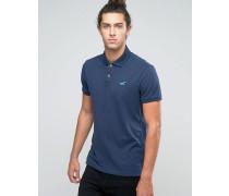Schmales, marineblaues, elastisches Pikee-Polohemd mit Möwen-Logo Marineblau