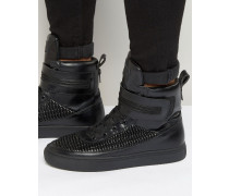 Sneaker mit hohem Schaft und Plissée Schwarz