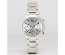 Boyfriend-Armbanduhr mit großem Zifferblatt Silber