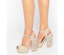 Sandalen mit Quaste und Plateauabsatz Beige