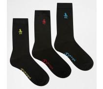 Schwarze Socken mit Stickerei, 3er-Pack Schwarz