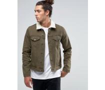 Schmal geschnittene Jeansjacke in Khaki mit Borgkragen Grün