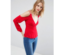 Schulterfreie Bluse Rot