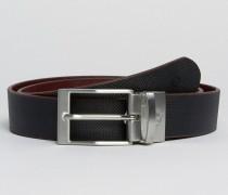 Textured Reversible Belt in Black Schwarz