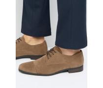 Hellbraune Derby-Schuhe in Wildlederoptik Bronze