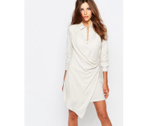 Hemdkleid mit Wickeldetail Beige