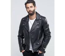 Leder-Bikerjacke mit Gürtel in Schwarz Schwarz