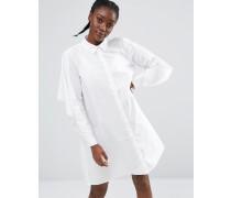 Exklusives, weites Hemdkleid Weiß