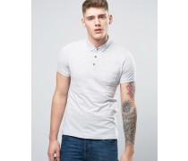 Einfarbiges Jersey-Polohemd mit Knopfleiste mit Kontrastfarbe innen Cremeweiß