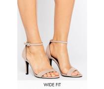 New Look Sandalen in Wildlederoptik mit Absatz und weiter Passform Beige