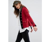 Jersey-Jacke im Militärstil mit Reißverschluss Rot