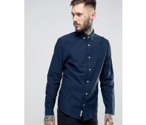 Schmales Oxford-Hemd mit Button-Down-Kragen und farblich abgestimmtem Logo in Marineblau Marineblau